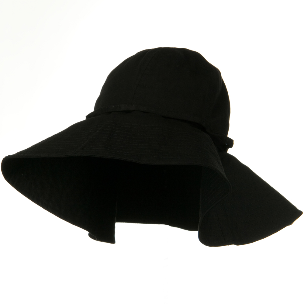 Big Cotton Wide Floppy Brim Hat - Black