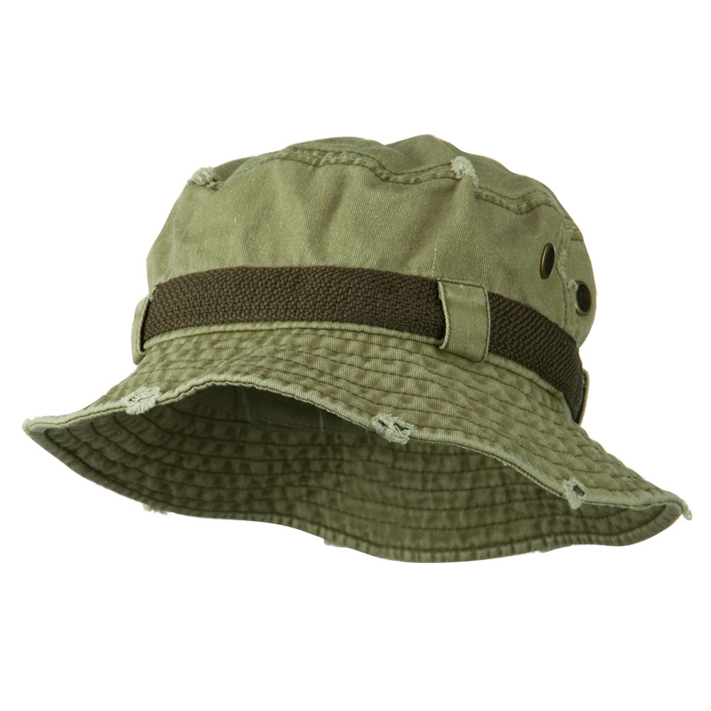 Big Size Frayed Cotton Washed Bucket Hat - Khaki - Hats and Caps Online Shop - Hip Head Gear