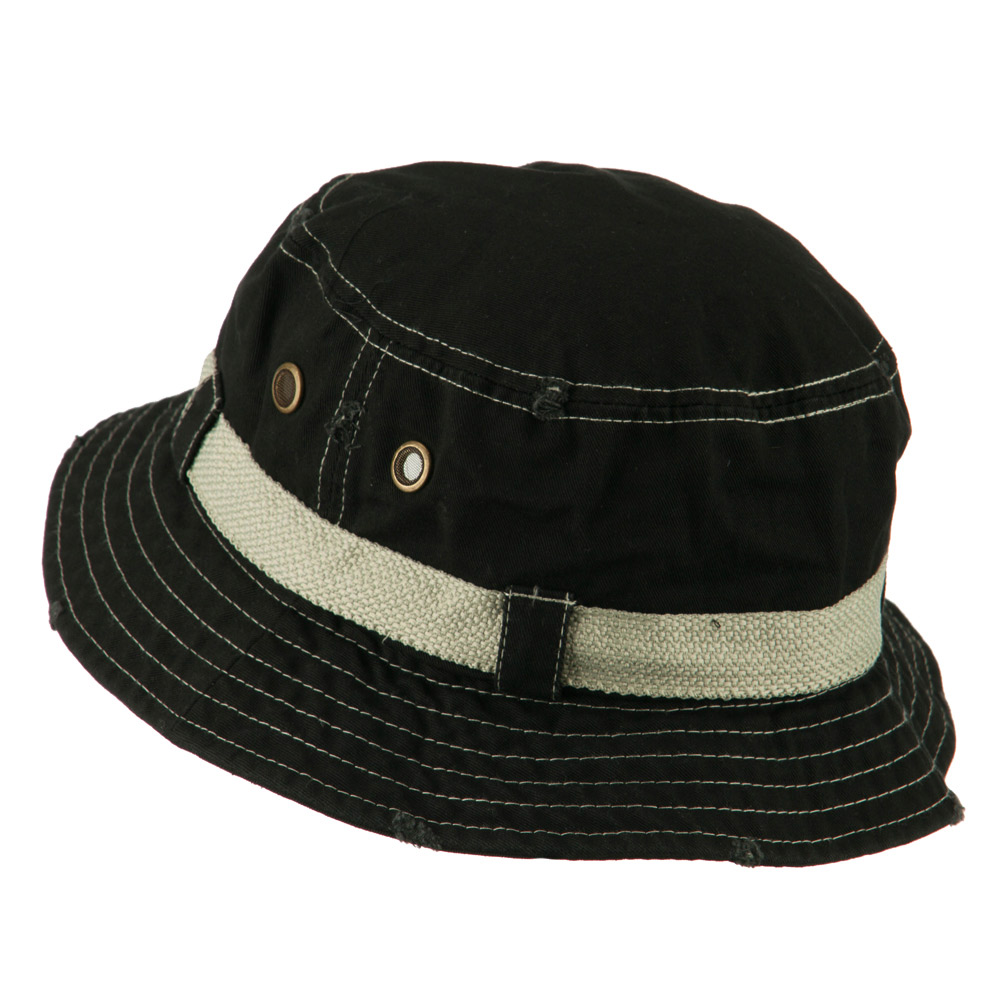 Big Size Frayed Cotton Washed Bucket Hat - Black - Hats and Caps Online Shop - Hip Head Gear