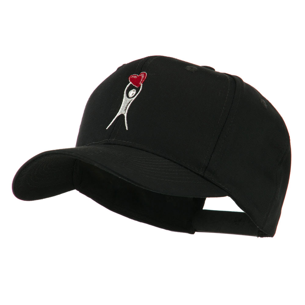 Breast Cancer Body Figure Heart Embroidery Cap - Black - Hats and Caps Online Shop - Hip Head Gear