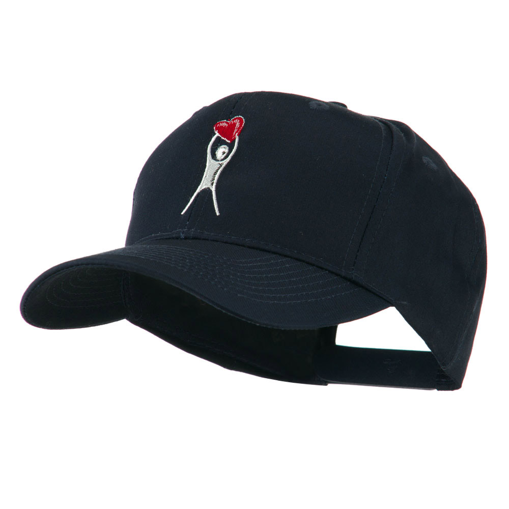 Breast Cancer Body Figure Heart Embroidery Cap - Navy - Hats and Caps Online Shop - Hip Head Gear