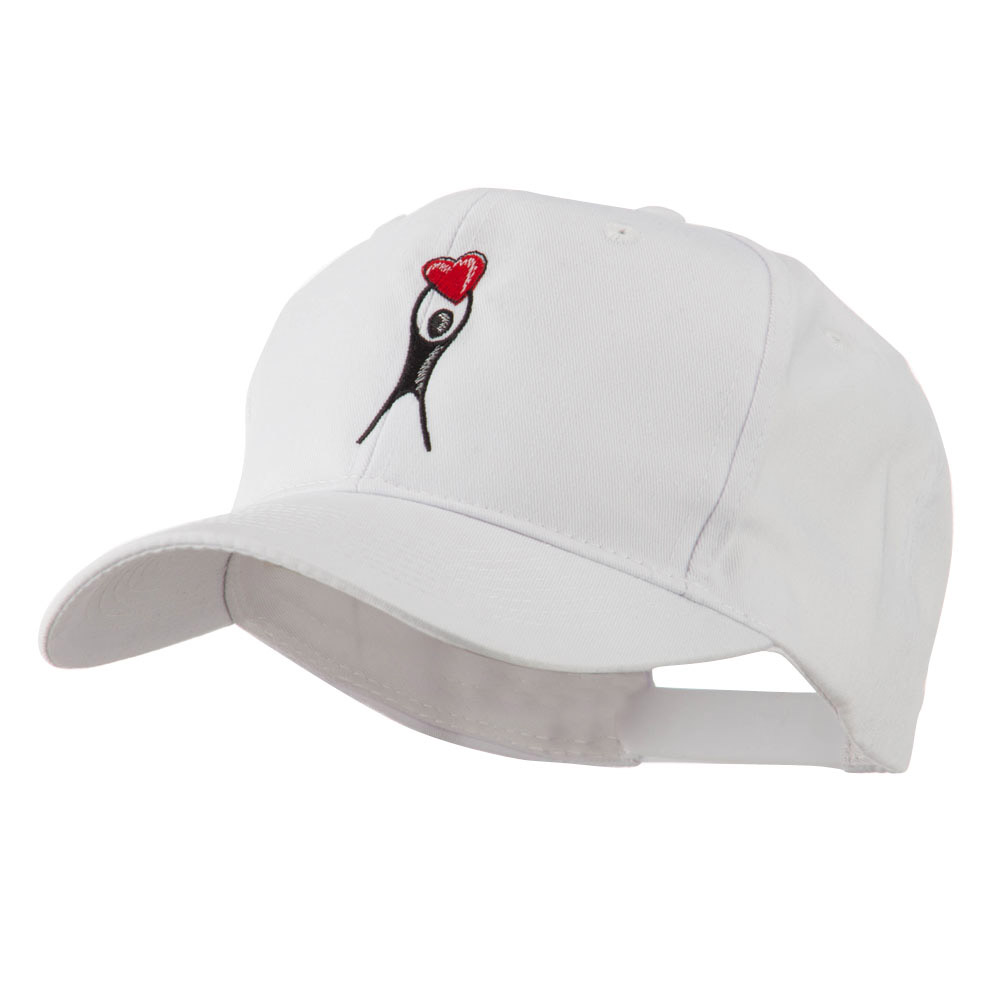 Breast Cancer Body Figure Heart Embroidery Cap - White - Hats and Caps Online Shop - Hip Head Gear