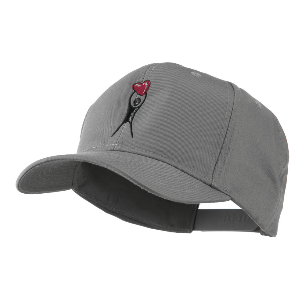 Breast Cancer Body Figure Heart Embroidery Cap - Grey - Hats and Caps Online Shop - Hip Head Gear