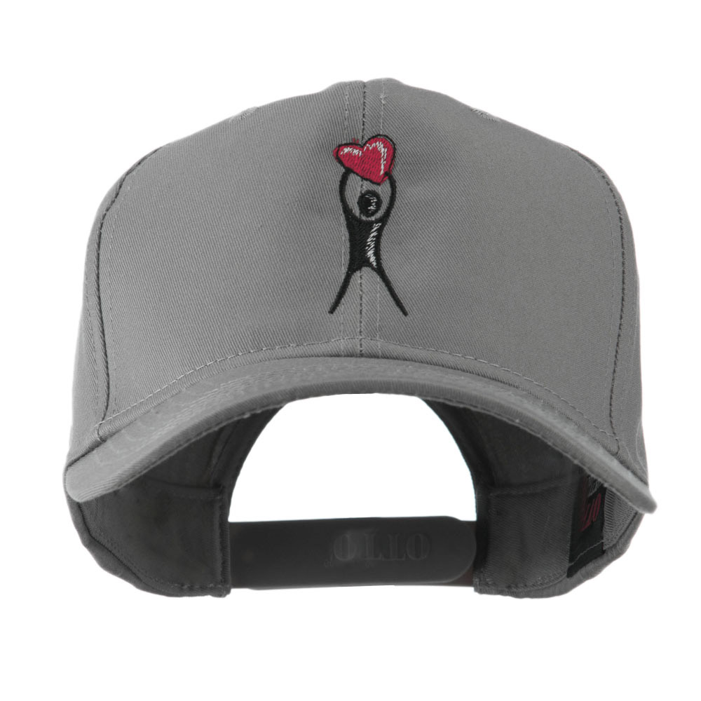 Breast Cancer Body Figure Heart Embroidery Cap - Grey