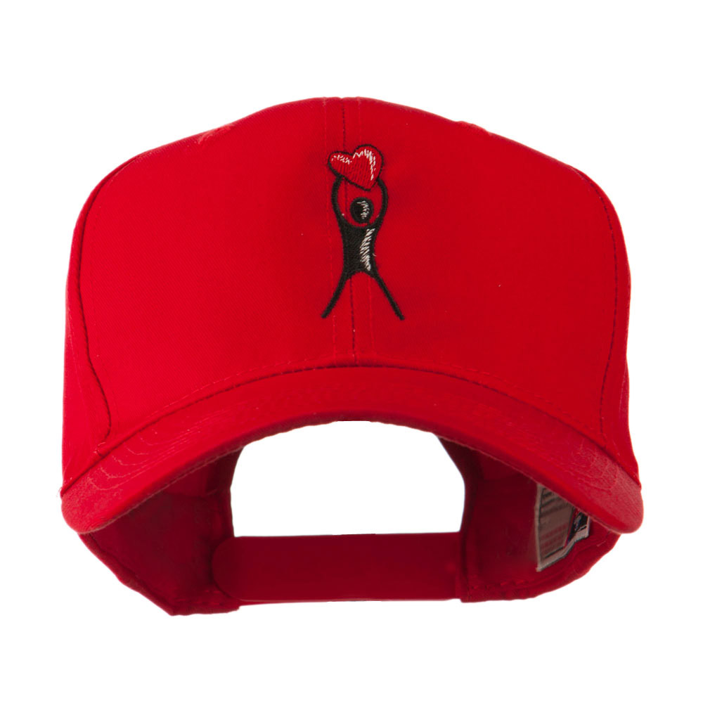 Breast Cancer Body Figure Heart Embroidery Cap - Red