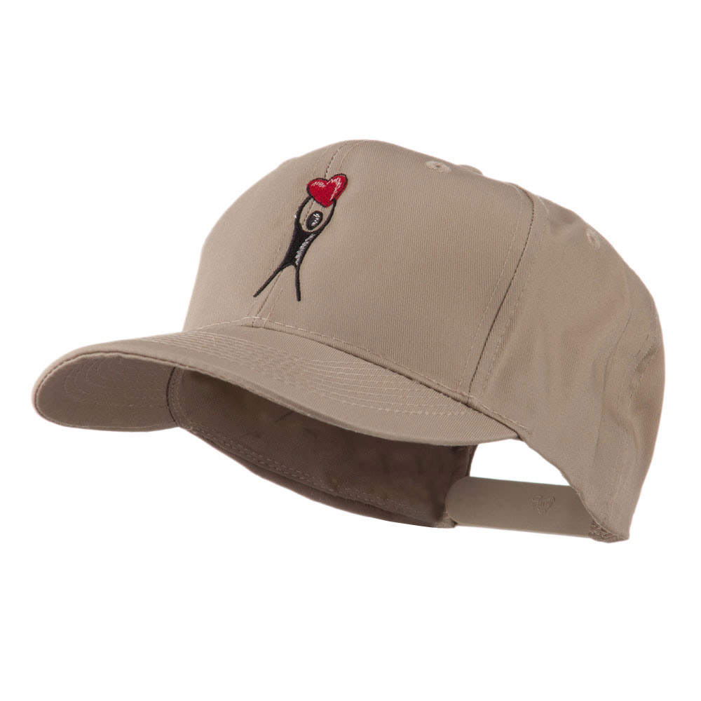 Breast Cancer Body Figure Heart Embroidery Cap - Khaki - Hats and Caps Online Shop - Hip Head Gear