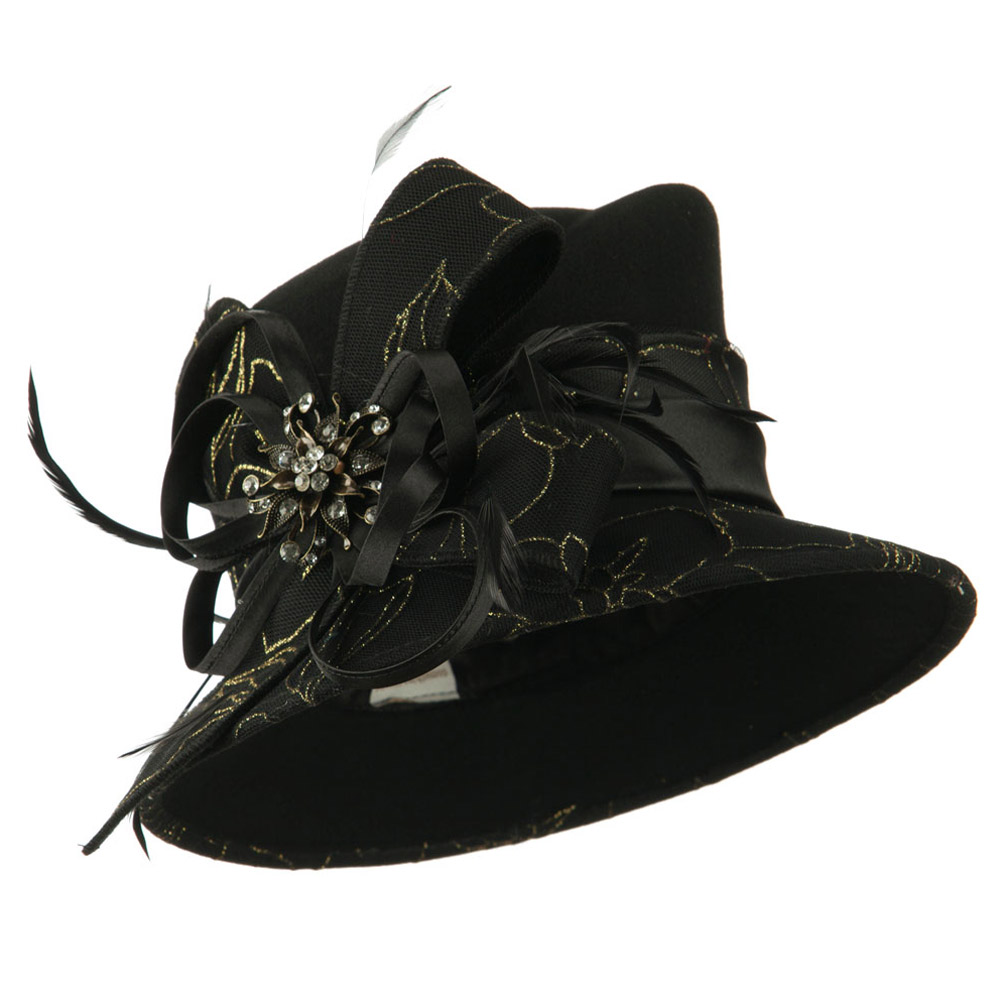 Black and Gold Laced Wool Felt Dressy Hat - Black - Hats and Caps Online Shop - Hip Head Gear