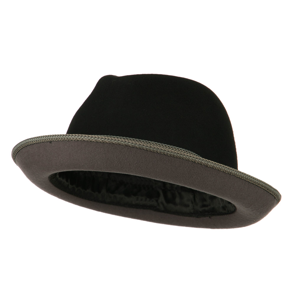 Man's Black Grey Felt Fedora - Black Grey - Hats and Caps Online Shop - Hip Head Gear