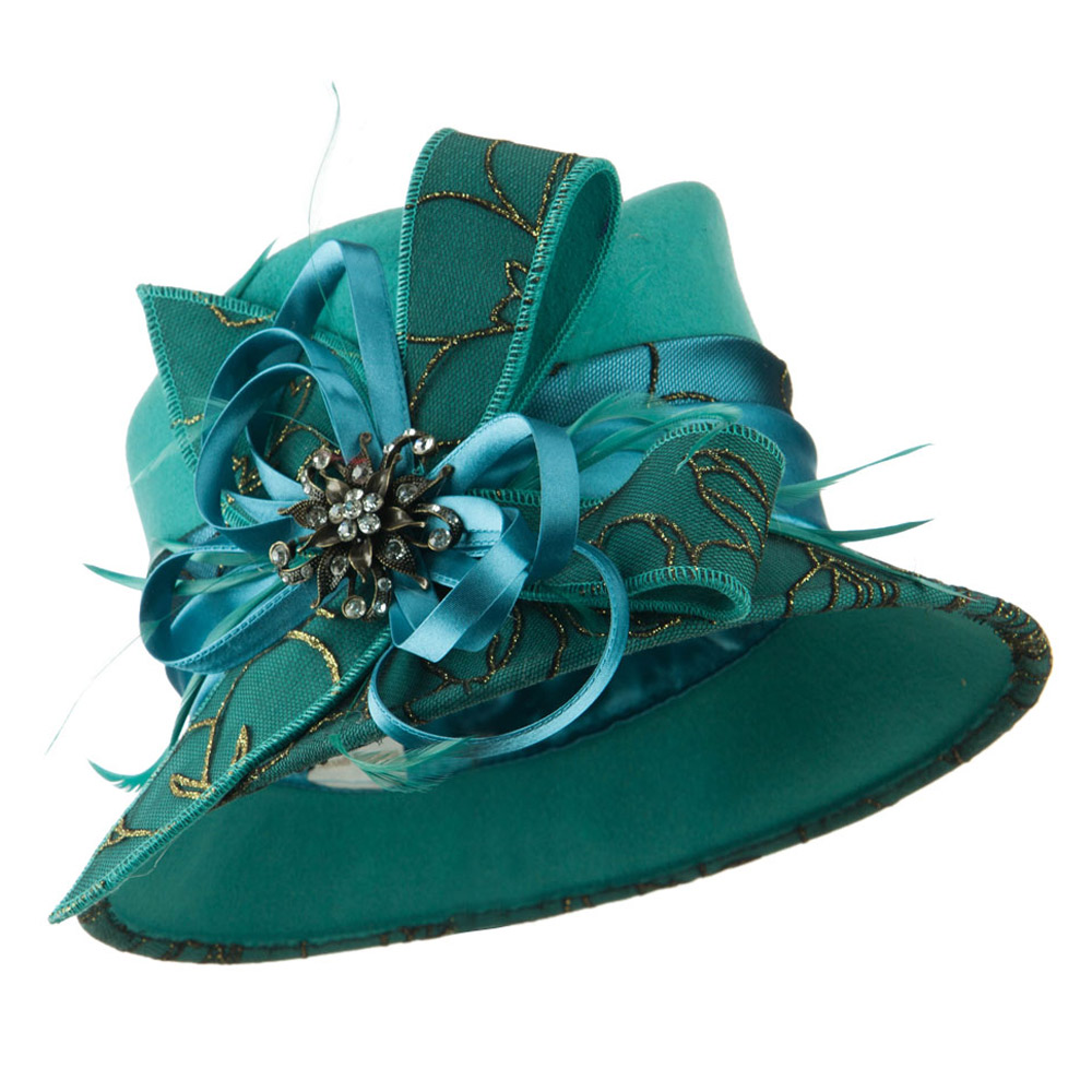 Black and Gold Laced Wool Felt Dressy Hat - Teal - Hats and Caps Online Shop - Hip Head Gear