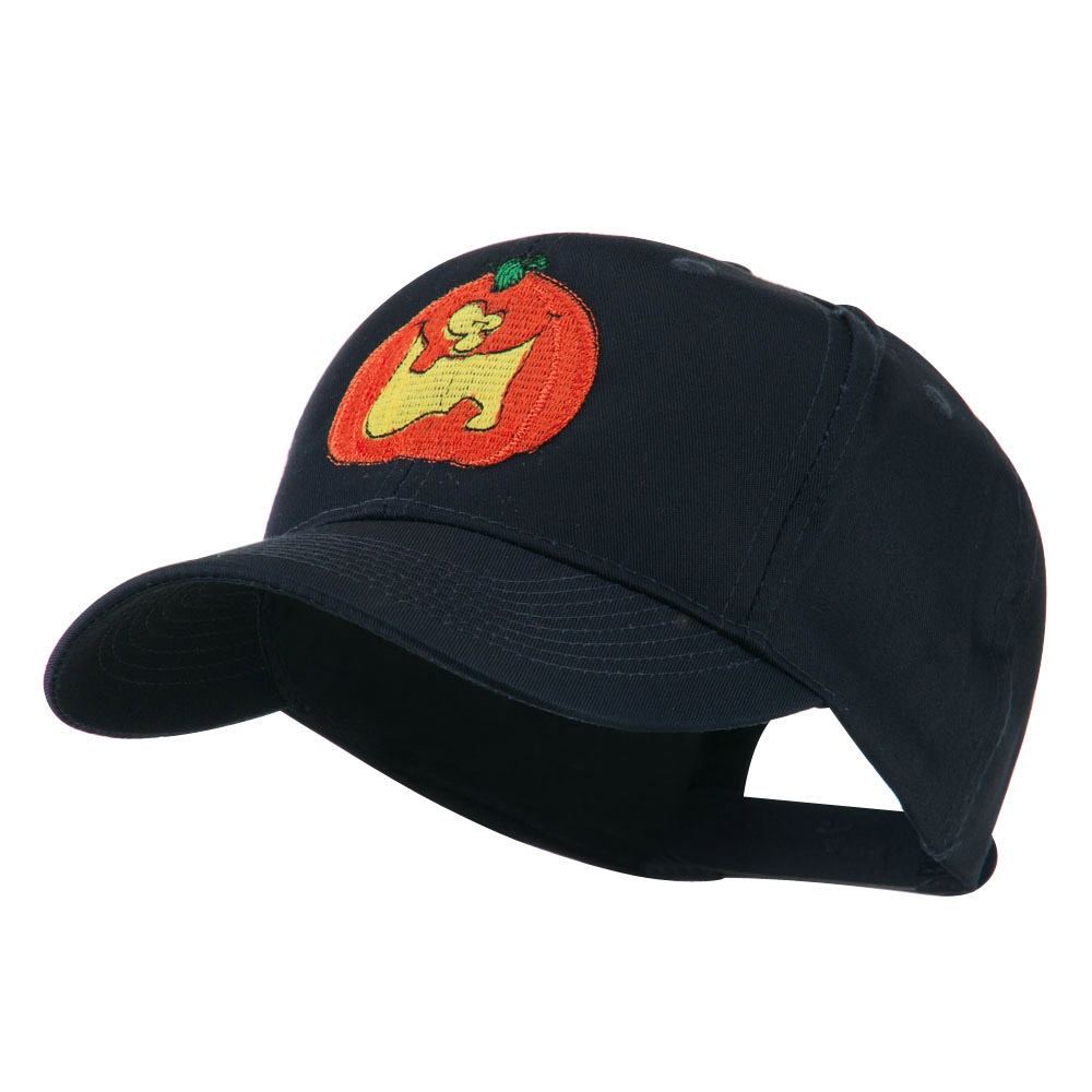 Funny Big Jack O Lantern Embroidered Cap - Navy - Hats and Caps Online Shop - Hip Head Gear