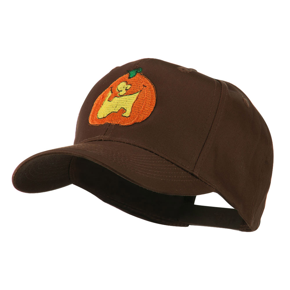 Funny Big Jack O Lantern Embroidered Cap - Brown - Hats and Caps Online Shop - Hip Head Gear