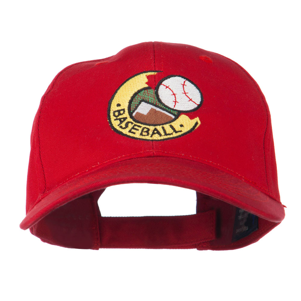 Baseball Logo Embroidery Cap - Red