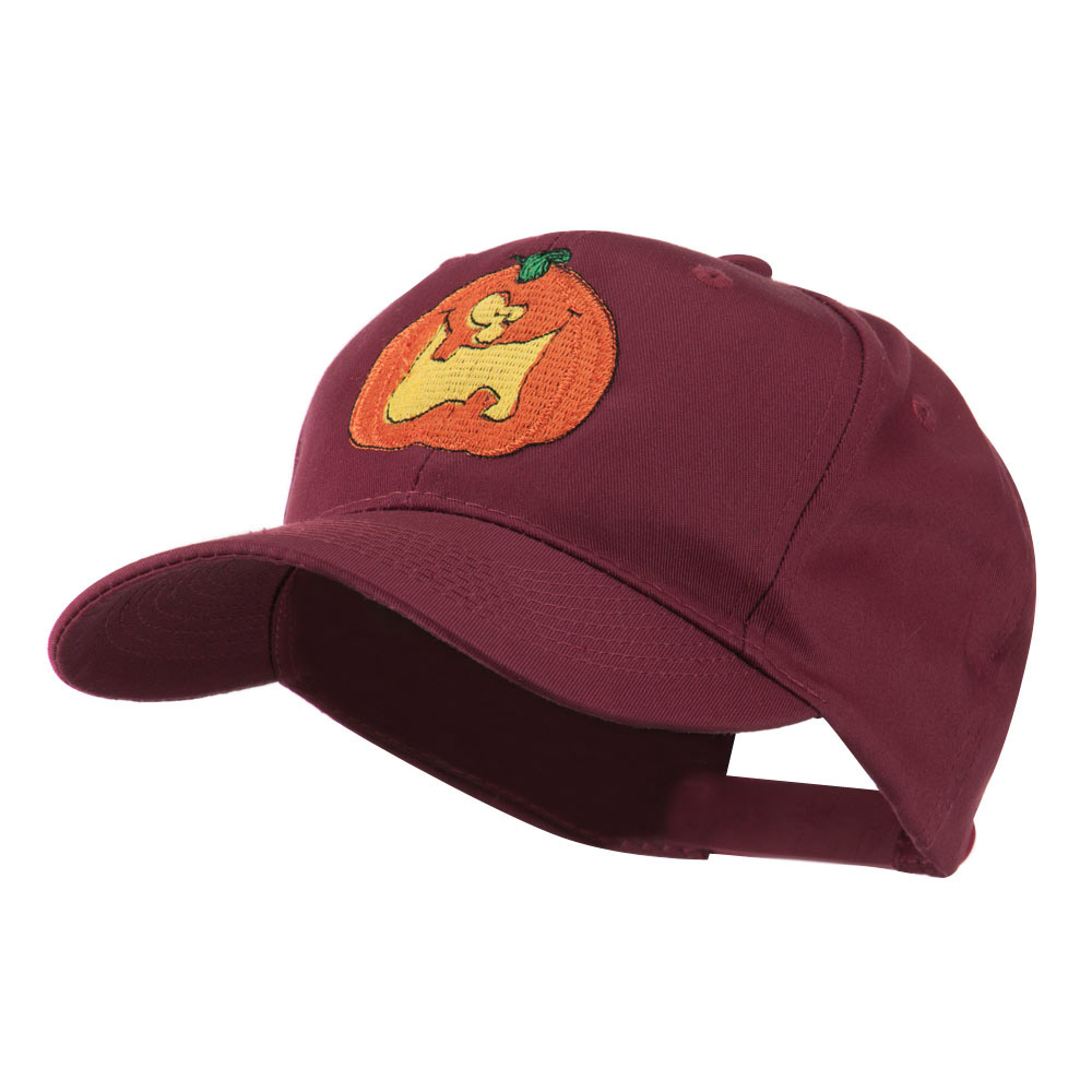 Funny Big Jack O Lantern Embroidered Cap - Maroon - Hats and Caps Online Shop - Hip Head Gear