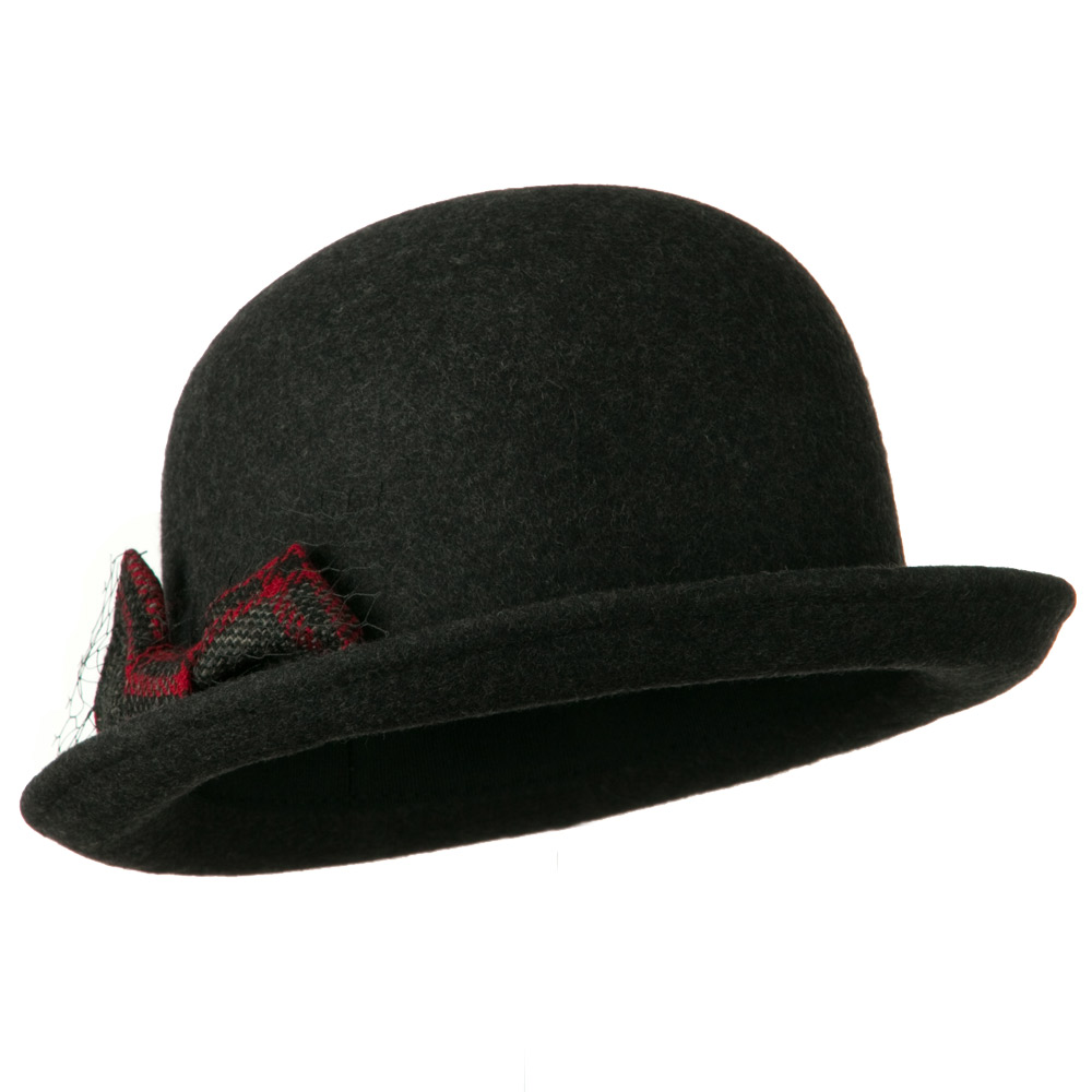 Dressy Woman's Bowler Hat with Grey and Red Plaid Bow - Charcoal - Hats and Caps Online Shop - Hip Head Gear