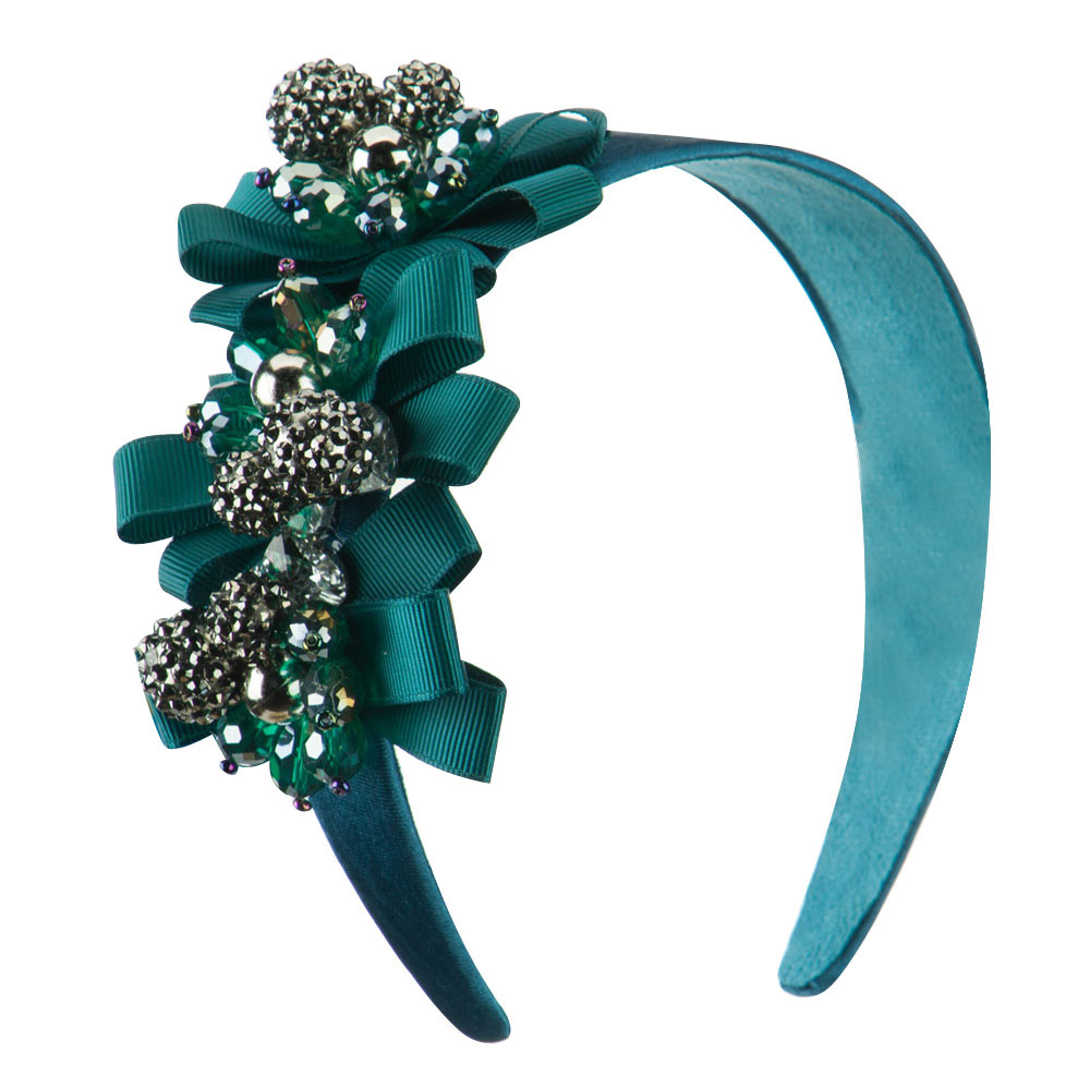 Beaded Headband with Ribbon Design - Turquoise - Hats and Caps Online Shop - Hip Head Gear