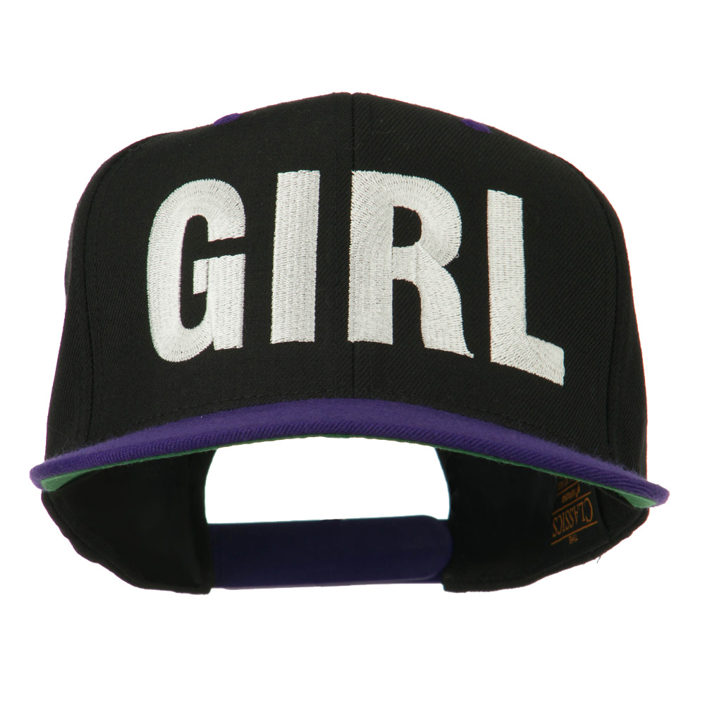 Flat Bill Hip Hop Casual Girl Embroidered Cap - Black Purple - Hats and Caps Online Shop - Hip Head Gear