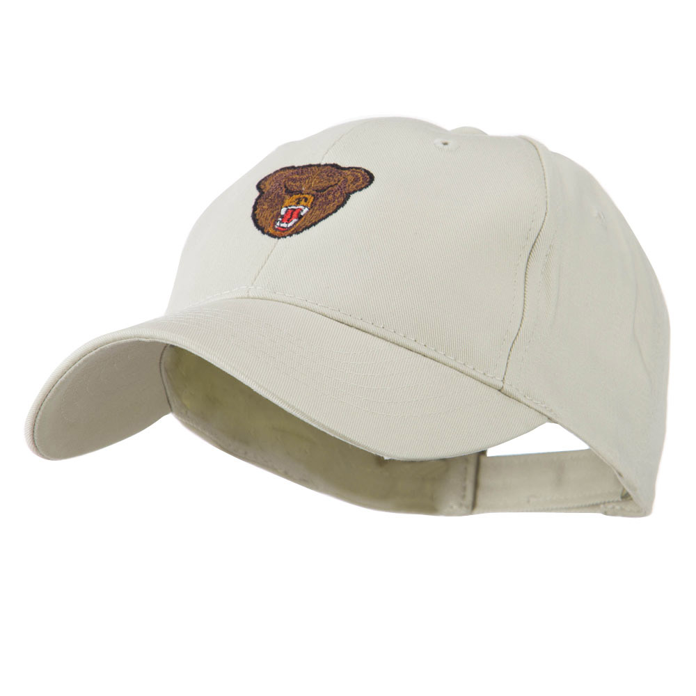 Bear Head Mascot Embroidered Cap - Stone - Hats and Caps Online Shop - Hip Head Gear