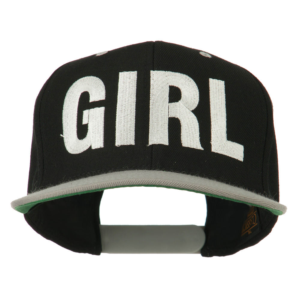 Flat Bill Hip Hop Casual Girl Embroidered Cap - Black Silver - Hats and Caps Online Shop - Hip Head Gear