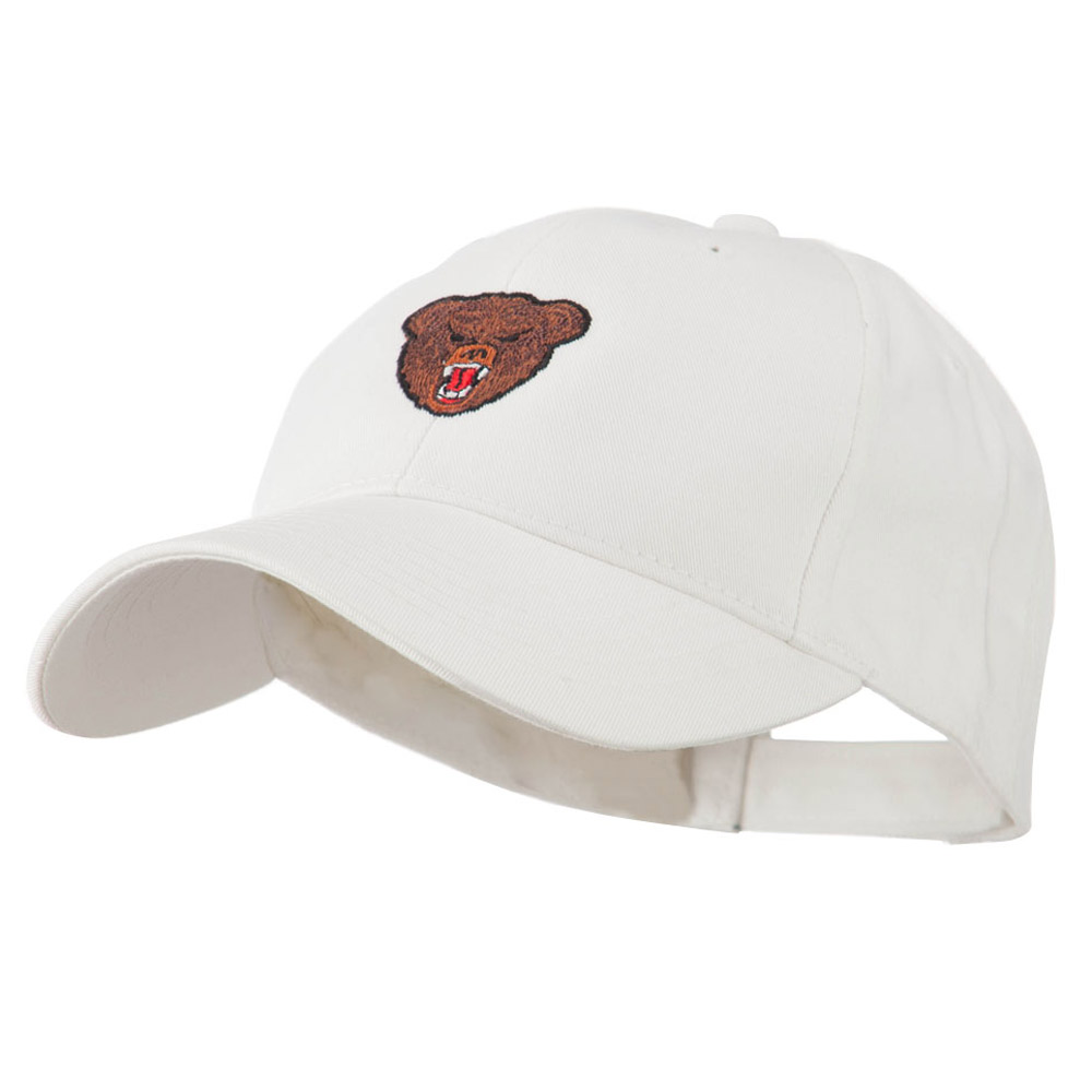 Bear Head Mascot Embroidered Cap - White - Hats and Caps Online Shop - Hip Head Gear