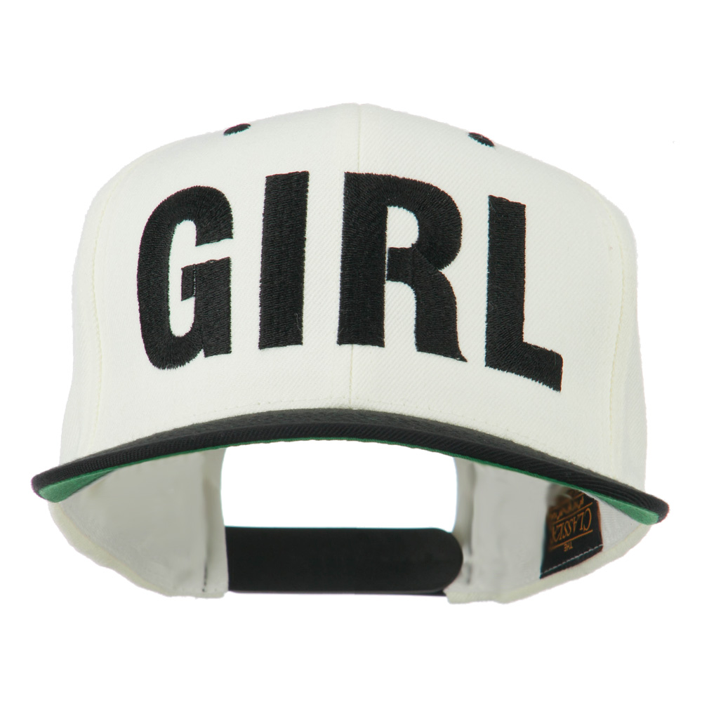 Flat Bill Hip Hop Casual Girl Embroidered Cap - Natural Black - Hats and Caps Online Shop - Hip Head Gear