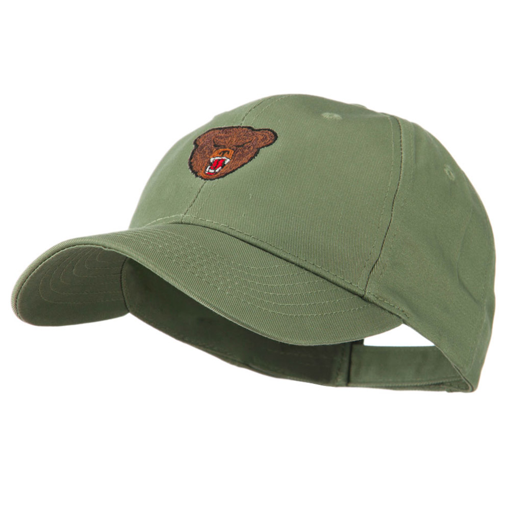 Bear Head Mascot Embroidered Cap - Olive - Hats and Caps Online Shop - Hip Head Gear