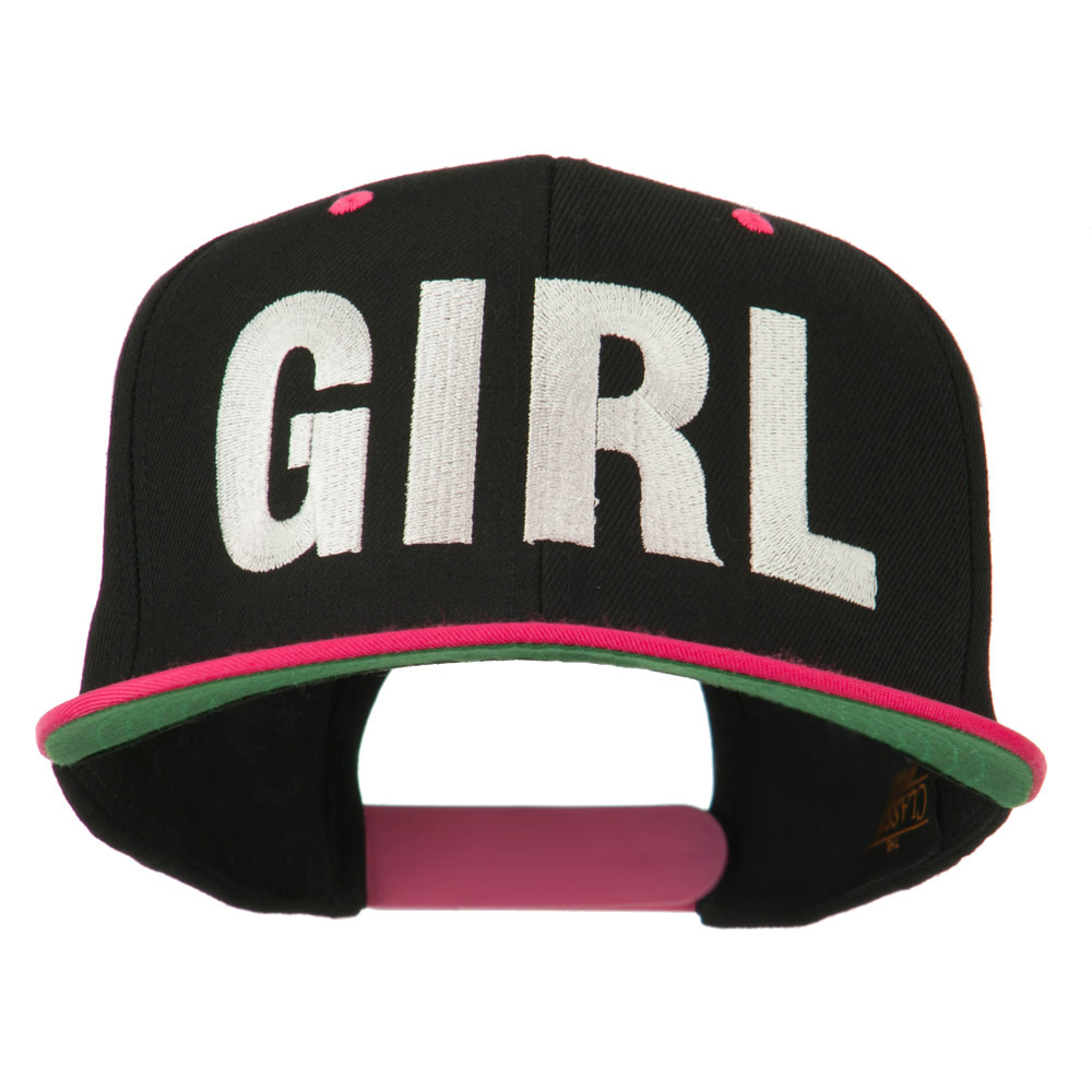 Flat Bill Hip Hop Casual Girl Embroidered Cap - Black Pink - Hats and Caps Online Shop - Hip Head Gear