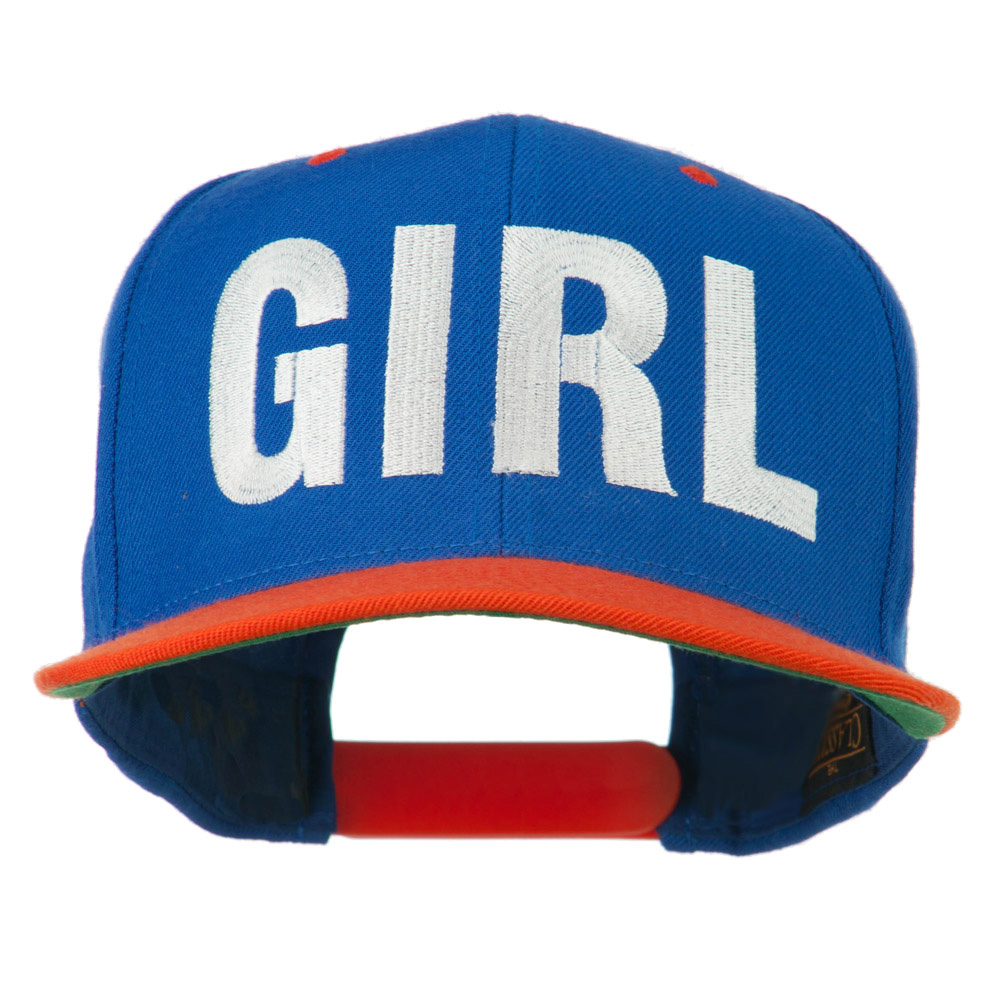 Flat Bill Hip Hop Casual Girl Embroidered Cap - Royal Orange - Hats and Caps Online Shop - Hip Head Gear