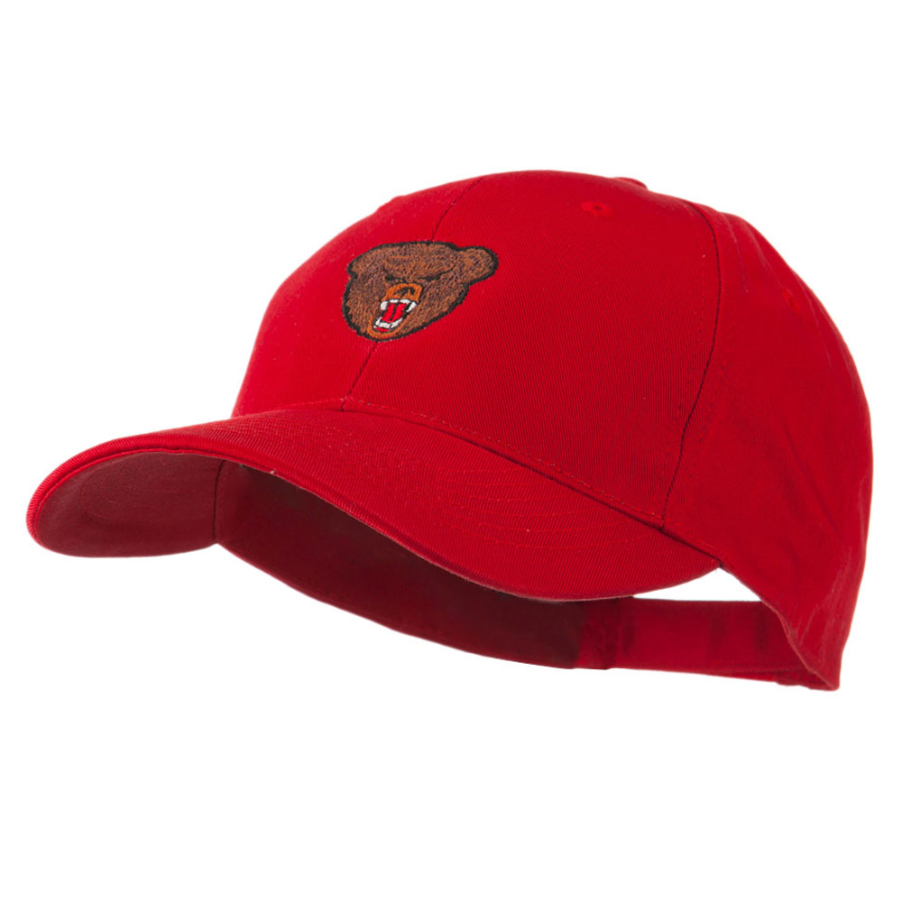 Bear Head Mascot Embroidered Cap - Red - Hats and Caps Online Shop - Hip Head Gear