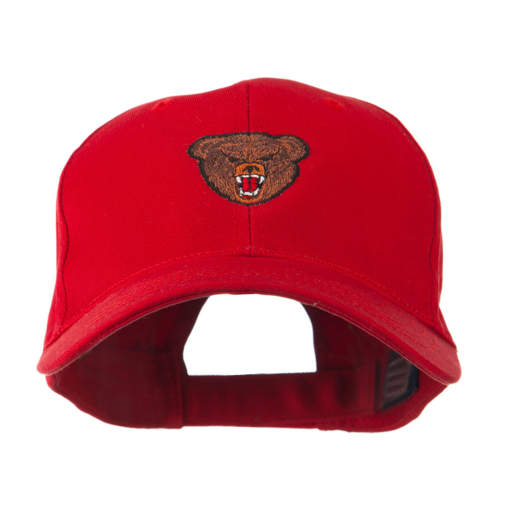 Bear Head Mascot Embroidered Cap - Red
