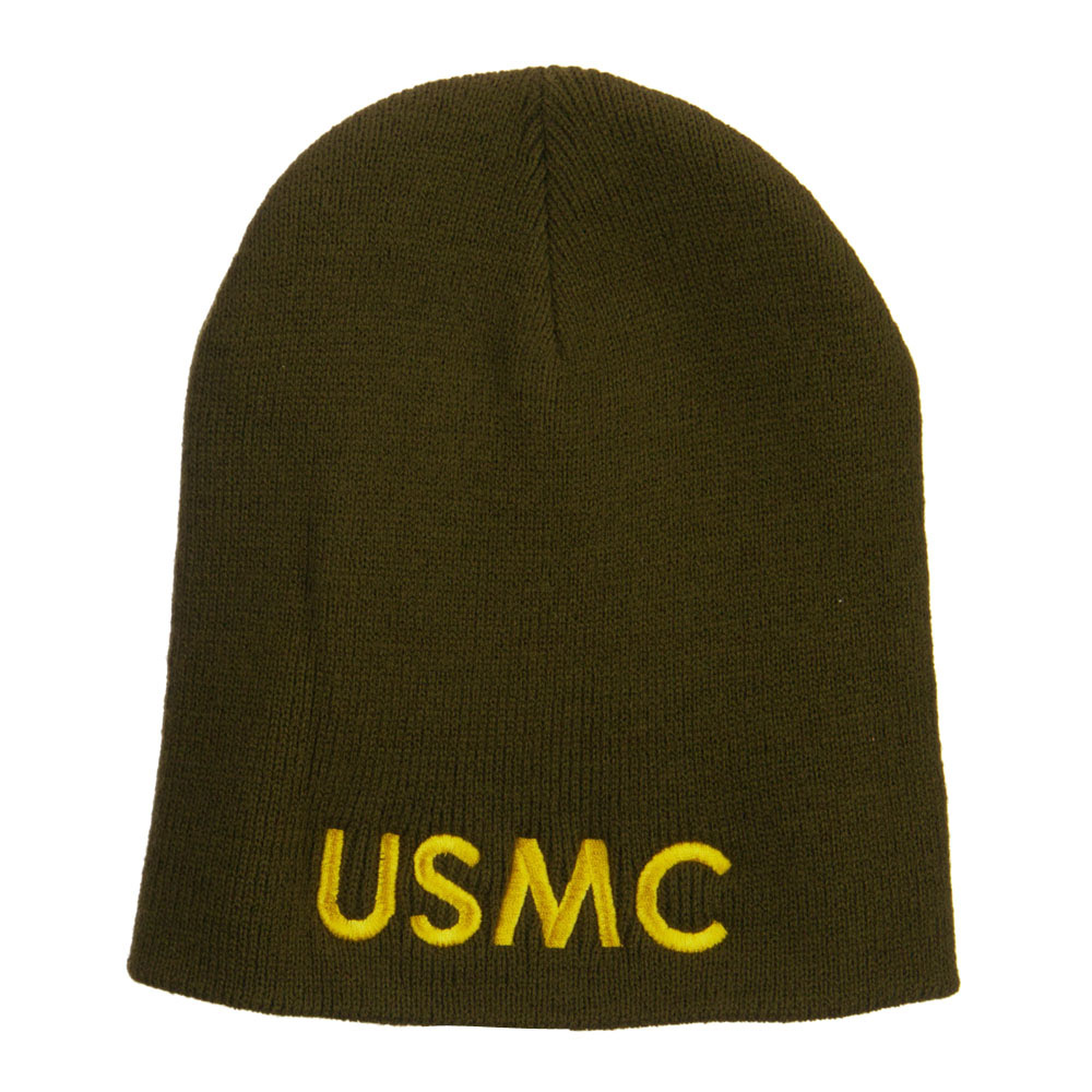 Big Size USMC Embroidered Short Beanie - Olive