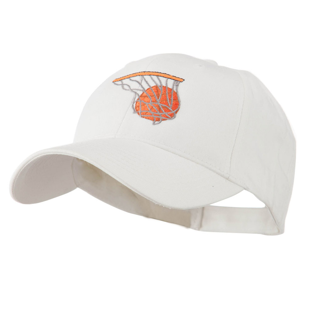 Basketball in Net Embroidered Cap - White - Hats and Caps Online Shop - Hip Head Gear