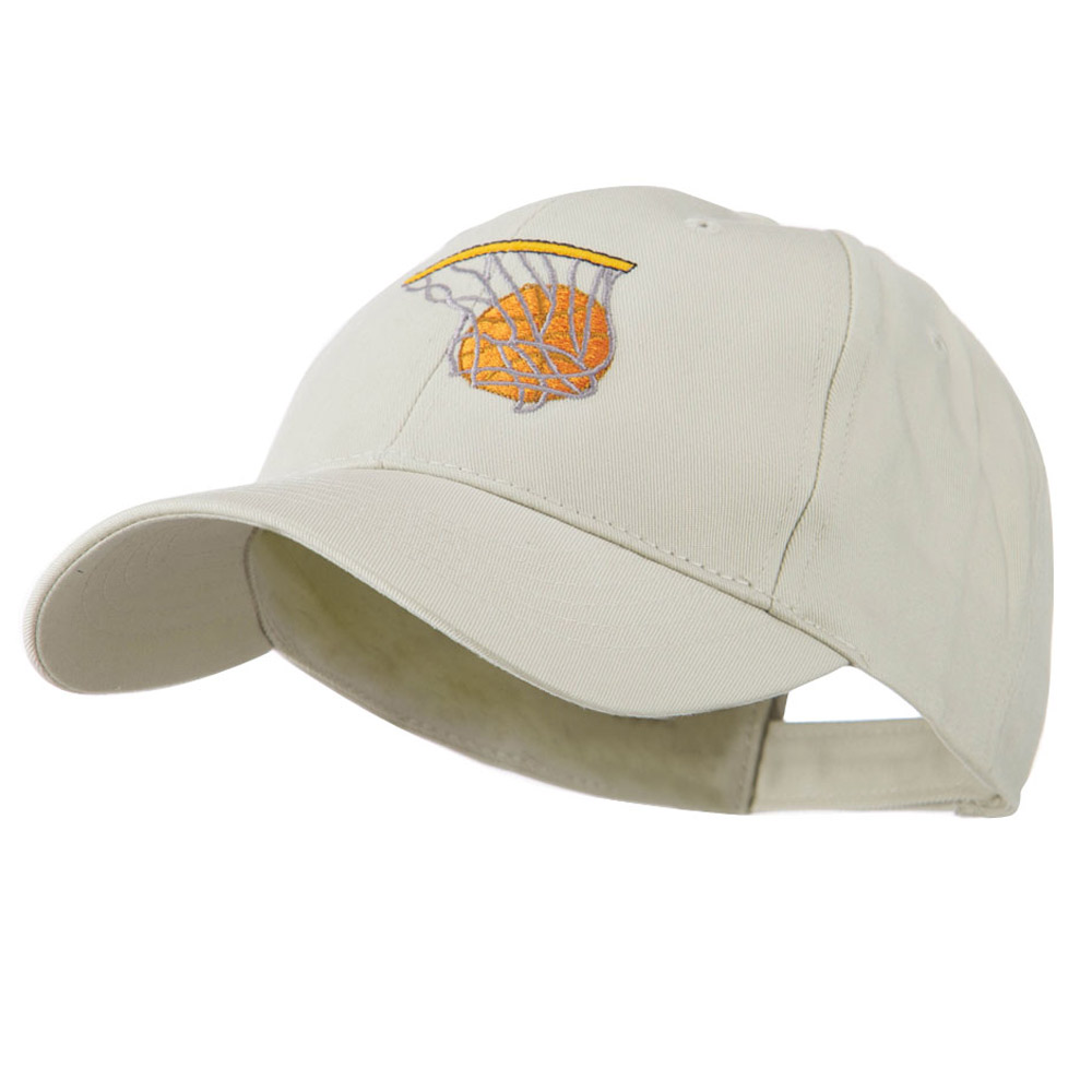 Basketball in Net Embroidered Cap - Stone - Hats and Caps Online Shop - Hip Head Gear