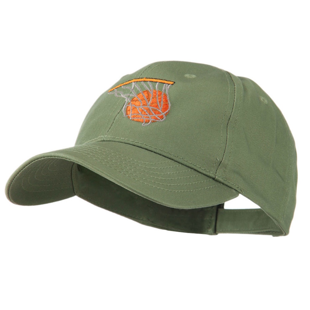 Basketball in Net Embroidered Cap - Olive - Hats and Caps Online Shop - Hip Head Gear