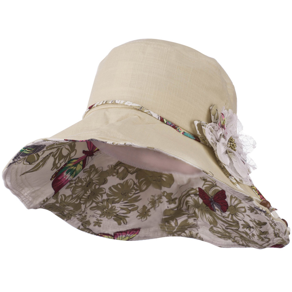 Ladies Butterfly And Lace Flower Hat - Beige - Hats and Caps Online Shop - Hip Head Gear