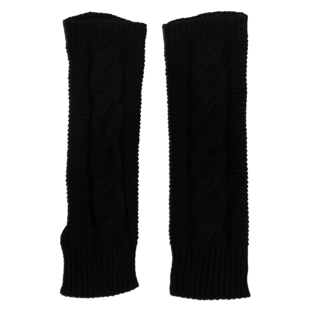 Women's Cable Long Arm Warmer - Black