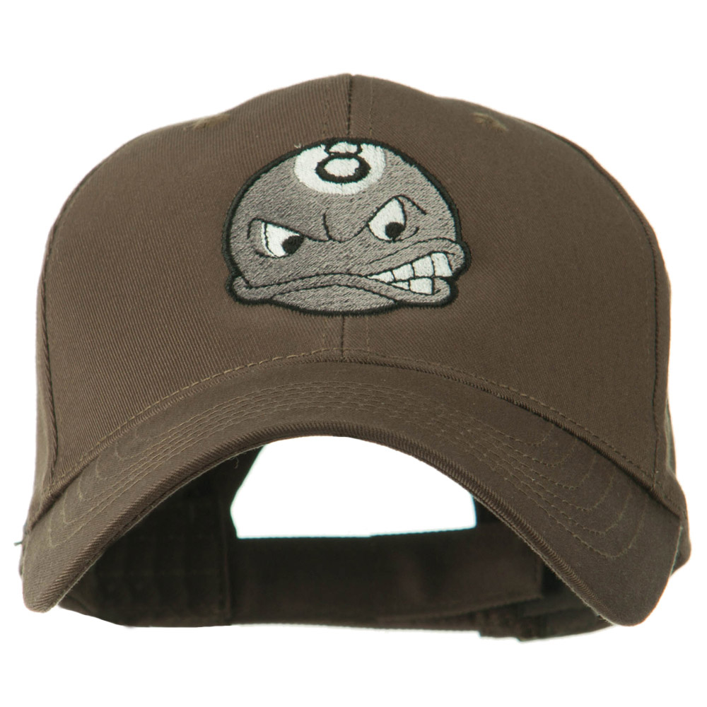 Billiard 8 Ball Face Embroidery Cap - Brown - Hats and Caps Online Shop - Hip Head Gear
