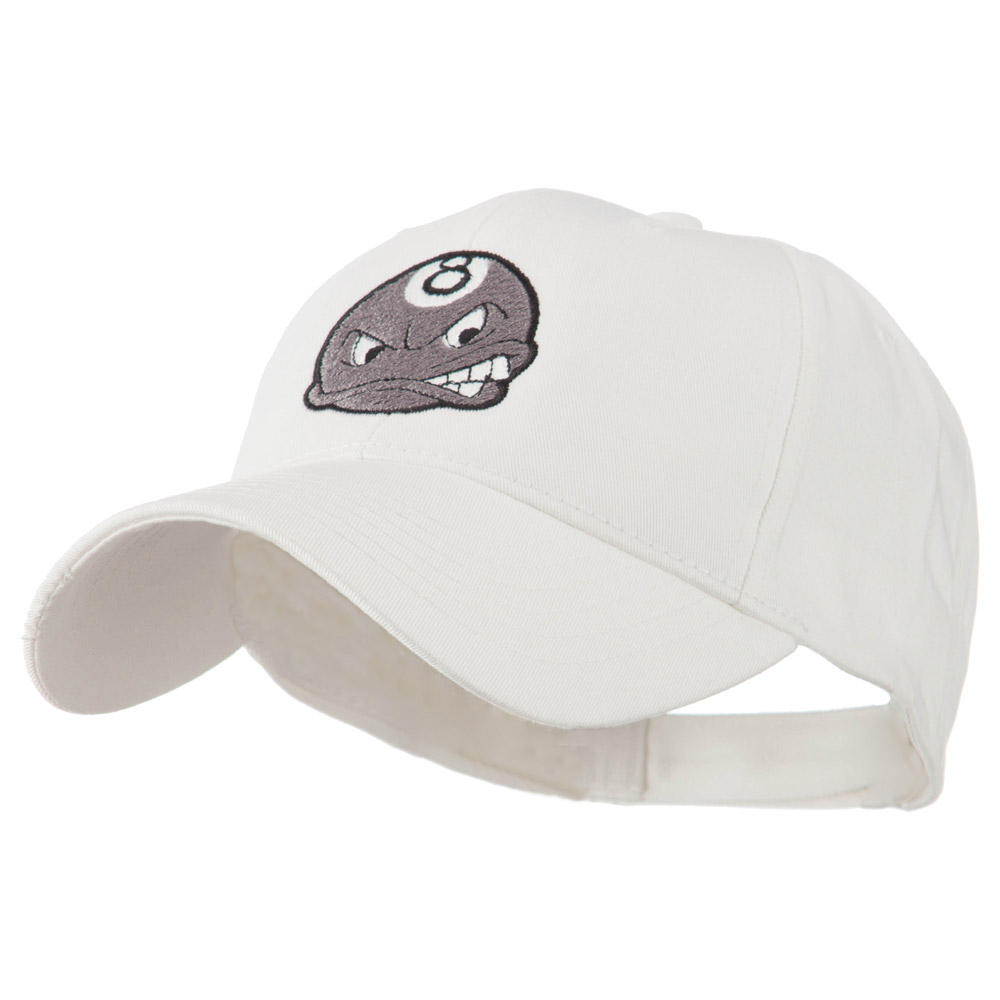 Billiard 8 Ball Face Embroidery Cap - White - Hats and Caps Online Shop - Hip Head Gear