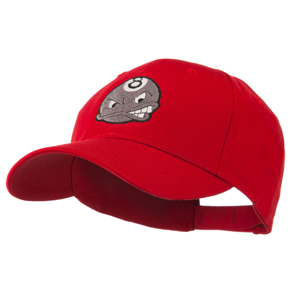 Billiard 8 Ball Face Embroidery Cap - Red - Hats and Caps Online Shop - Hip Head Gear