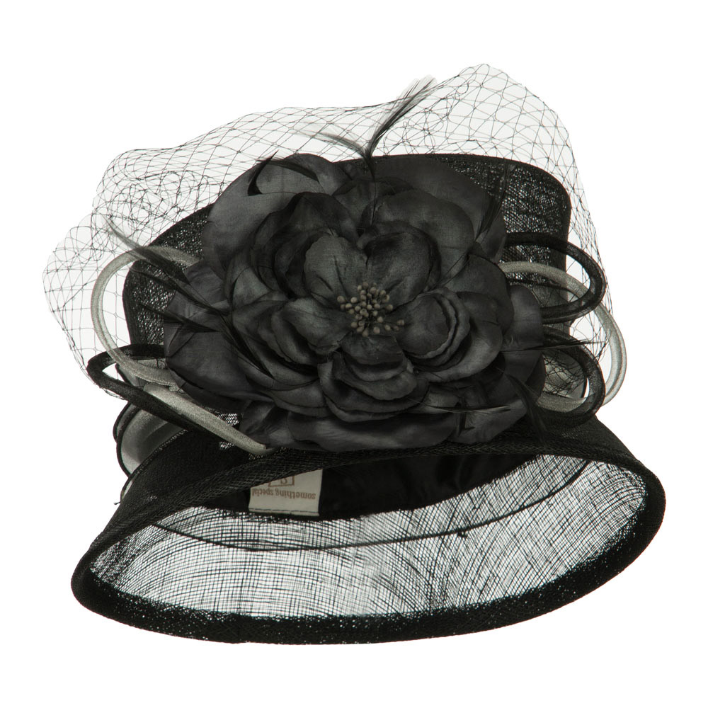 Big Flower Band Short Brim Sinamay Hat - Black - Hats and Caps Online Shop - Hip Head Gear