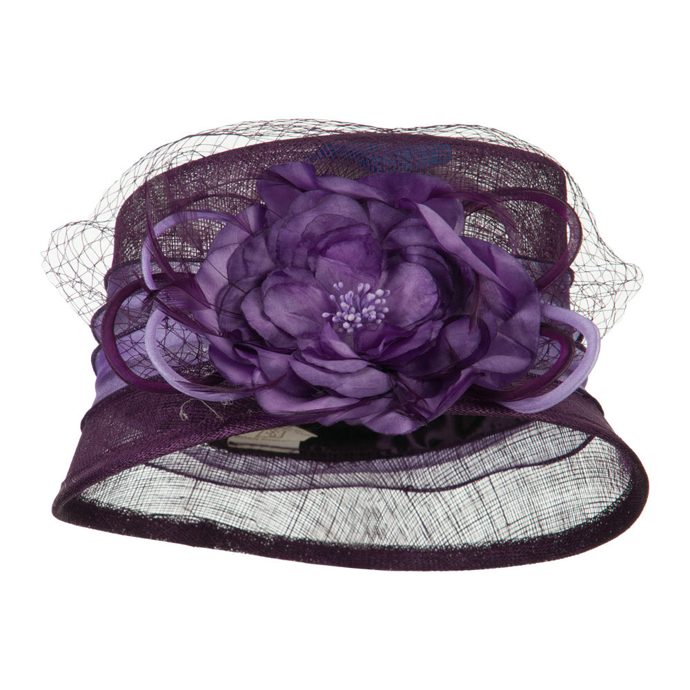 Big Flower Band Short Brim Sinamay Hat - Purple - Hats and Caps Online Shop - Hip Head Gear