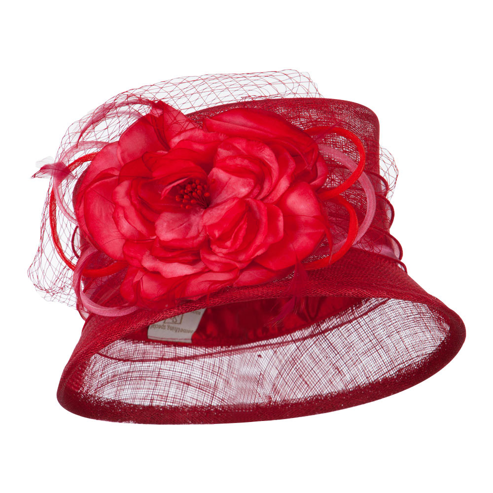 Big Flower Band Short Brim Sinamay Hat - Red - Hats and Caps Online Shop - Hip Head Gear