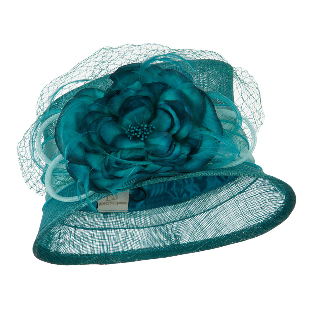 Big Flower Band Short Brim Sinamay Hat - Turquoise - Hats and Caps Online Shop - Hip Head Gear