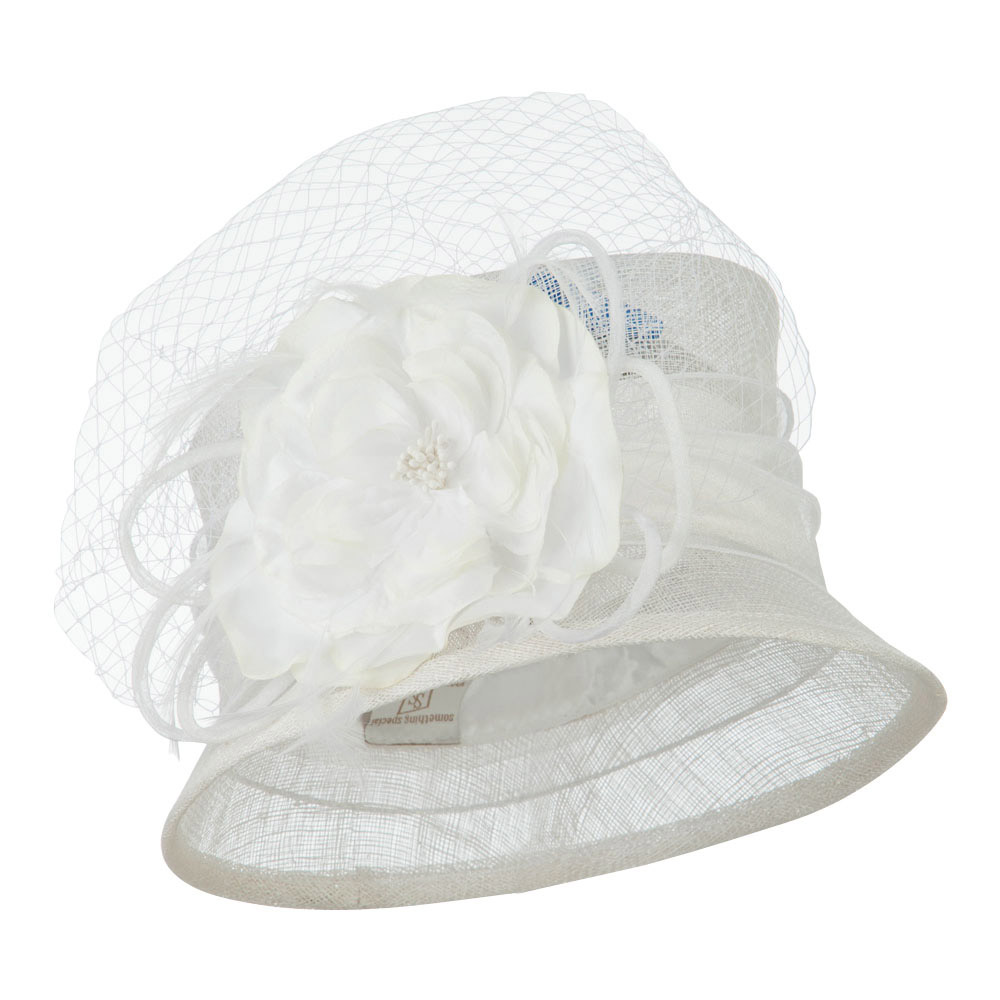 Big Flower Band Short Brim Sinamay Hat - White - Hats and Caps Online Shop - Hip Head Gear