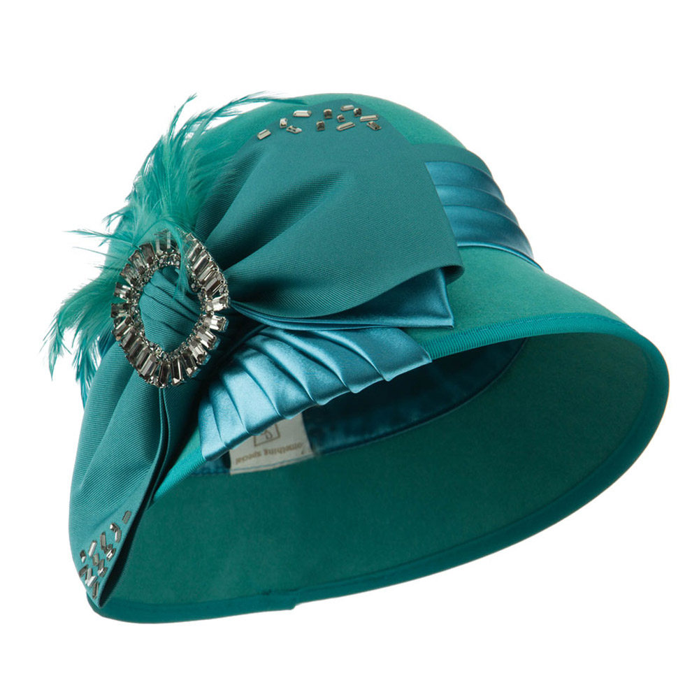 Wool Felt Cloche with Bow and Feathers - Teal - Hats and Caps Online Shop - Hip Head Gear