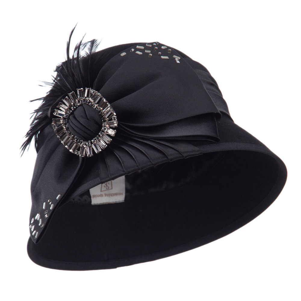 Wool Felt Cloche with Bow and Feathers - Black - Hats and Caps Online Shop - Hip Head Gear