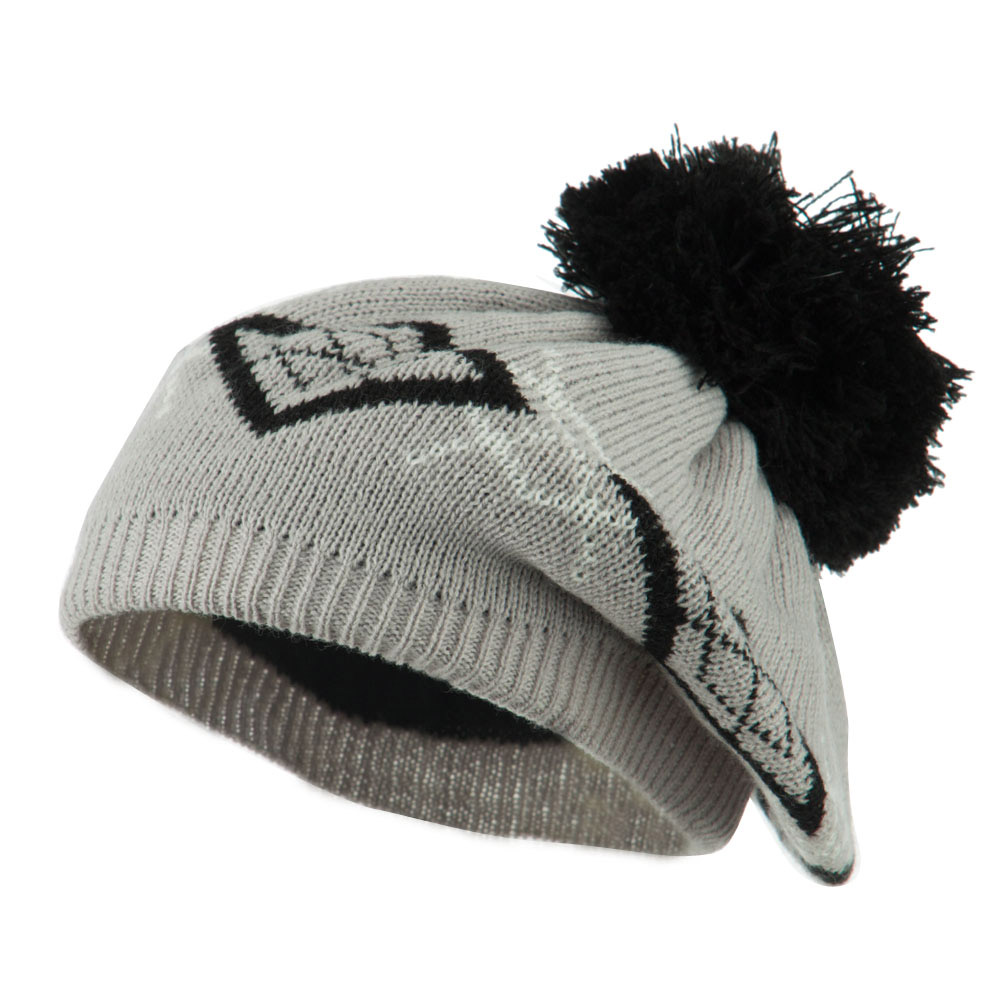 Beret Pattern with Pom Pom - Grey Black - Hats and Caps Online Shop - Hip Head Gear