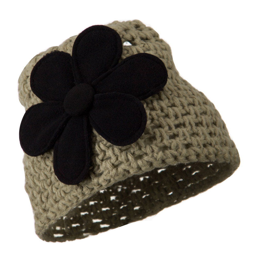 Woman's Bio Polar Fleece Flower Beanie - Taupe - Hats and Caps Online Shop - Hip Head Gear