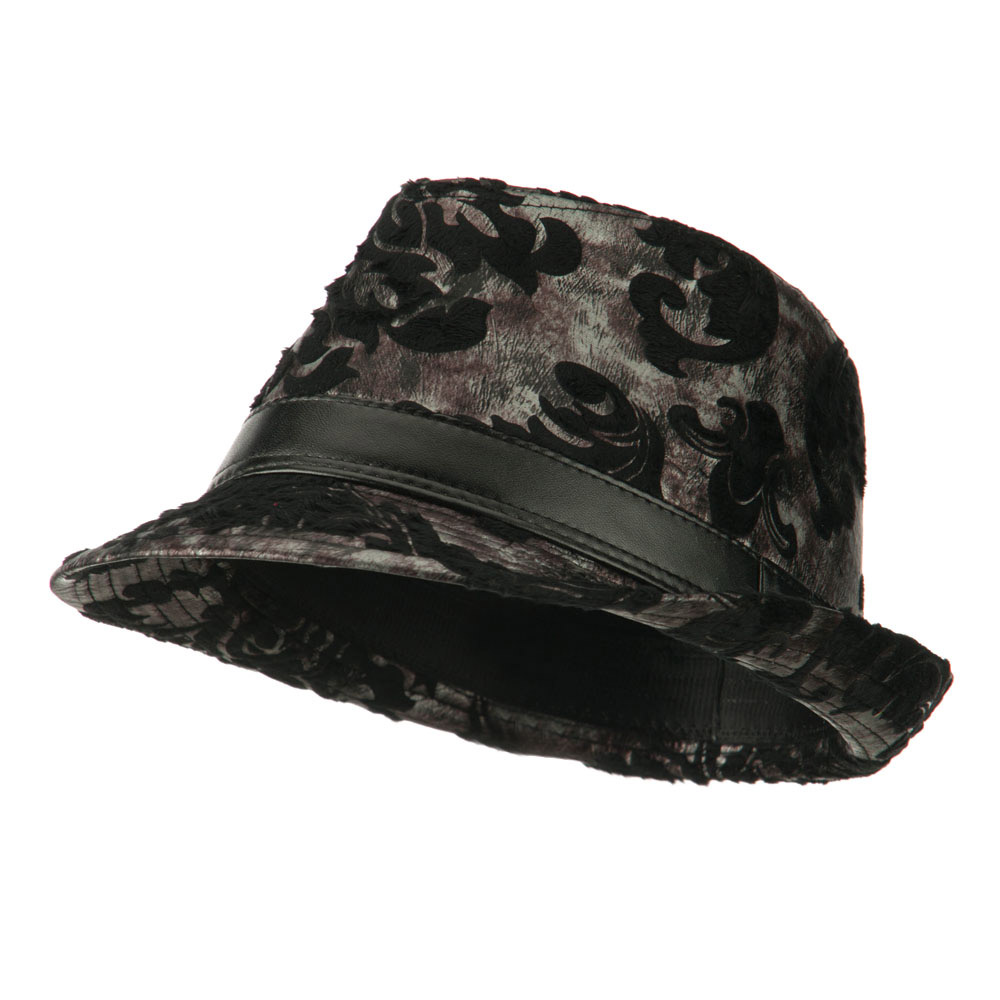 Brocade Pattern Burn Out Fedora - Black - Hats and Caps Online Shop - Hip Head Gear