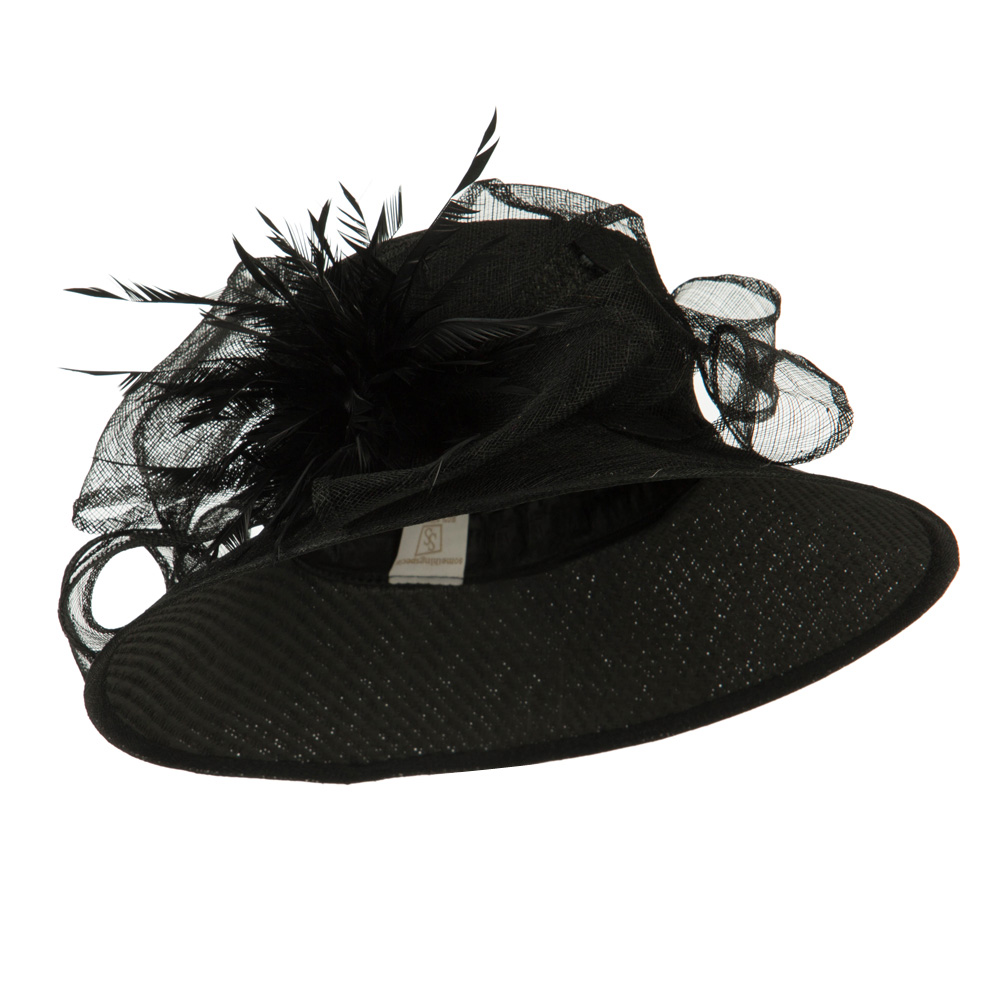 Bow Accent Paper Straw Sinamay Hat - Black - Hats and Caps Online Shop - Hip Head Gear