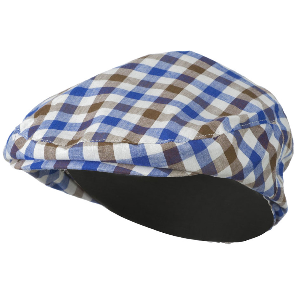 Boy's Plaid Driving Ivy Cap - Brown Blue - Hats and Caps Online Shop - Hip Head Gear
